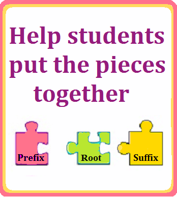 puzzle pieces labeled prefix, root, and suffix, with the text