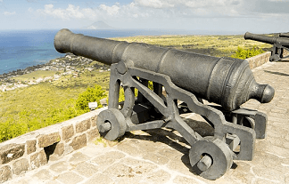 2 cannons protecting an old coastal fort