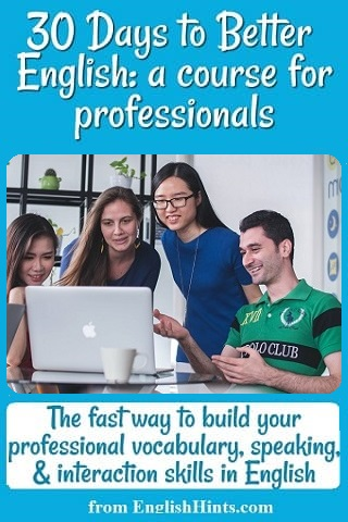 4 young people looking at a computer. Text: The fast way to build your professional vocabulary, speaking, & interaction skills in English