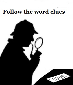 a silhouette of Sherlock Holmes examining a worksheet or other paper with a magnifying glass under the slogan