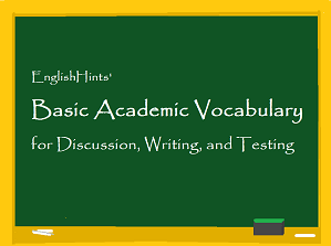 Basic Academic Vocabulary packet cover: picture of a blackboad with the title written on it.