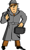 spy with gun and briefcase