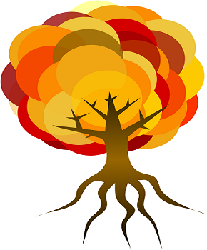 tree art with circles of fall colored leaves and bare roots