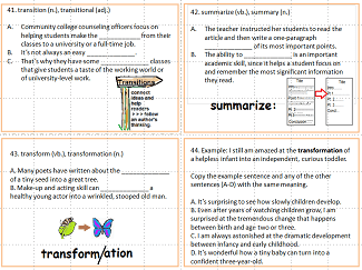 Four task cards to practice forms of 'transition', 'summarize',& 'transform.'The cards have fill-ins or multiple choice questions, and pictures representing the words.