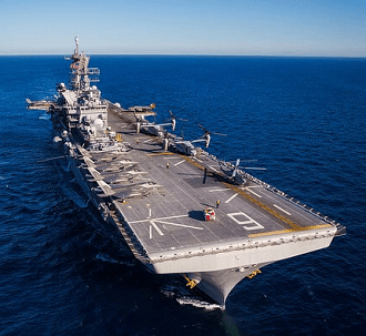 aircraft carrier on the ocean