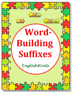 cover for the Word-Building Suffixes worksheet packet: title, puzzle pieces with 'act' plus 3 suffixes, and puzzle piece border.