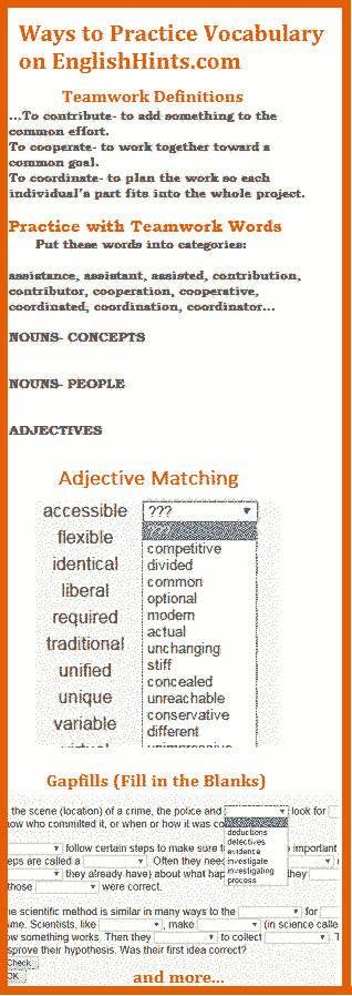 parts of 3 pages that show different ways to practice Academic Word List vocabulary on EnglishHints.com