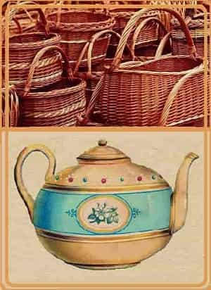 a collection of baskets and a Victorian teapot
