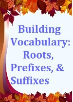 Building Vocabulary ebook cover: a tree with multi-colored fall leaves, some already on the ground
