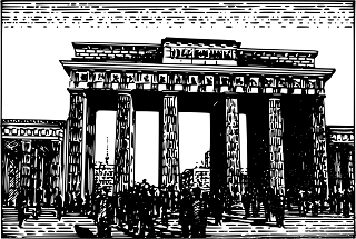 old drawing of the Brandenburg Gate in Berlin