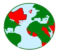 globe showing areas of British dominion at the beginning of the 20th century in red