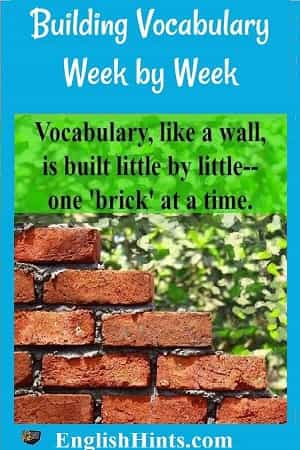 Building Vocabulary Week by Week: a partially built brick wall and the text 'Vocabulary, like a wall, is built little by little, one 'brick' at a time.'