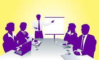 a business meeting with a speaker and people at a table