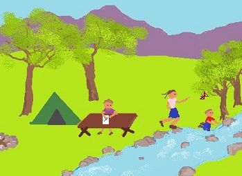 a family camping trip to illustrate present continuous tense actions like playing, sitting, and writing