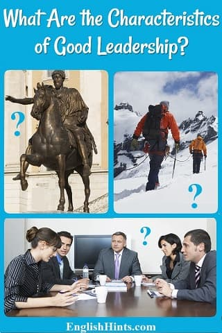 3 photos: a man on horseback, two men climbing up a snowy mountain, joined by a rope, & a business meeting with a boss at the head of the table. Each photo has a question mark referring to the title.