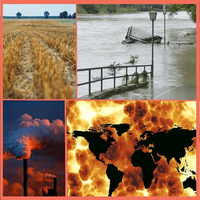 4 images of climate change (drought, flooding, a smokestack, and a map of the earth with a hot orange and brown background