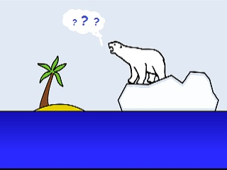 cartoon of a polar bear on ice in the tropics wondering--???