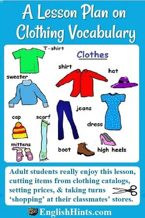 A detailed ESL Beginners' lesson plan on clothing vocabulary & shopping. Student teams design clothing stores, plan inventory and prices, and 'sell' to other students. (+ labeled picture of clothing)