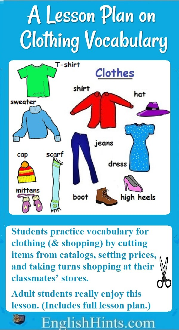 """A detailed ESL Beginners' lesson plan on clothing vocabulary & shopping. Student teams design clothing stores, plan inventory and prices, and """"sell"""" to other students. (+ labeled picture of clothing)"""