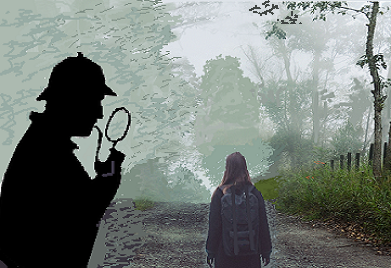 a detective like Sherlock Holmes studying a foggy landscape with a girl walking up a road
