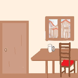 interior of an old coffee shop: door, window, table with chair, table, and a mug.