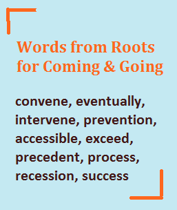Words for roots for coming and going (from the roots cedere and venire); words like concede and convene.