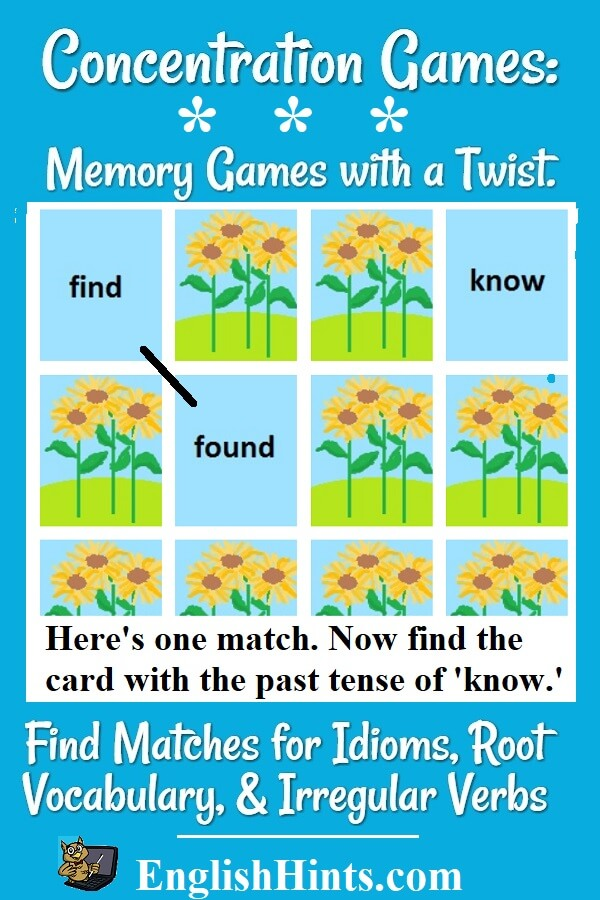 Picture of cards laid out in rows, with 3 turned over: two that match (find & found) and a new card: