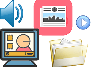 vocabulary study tools: a computer, audio files, practice files, newspapers, etc.