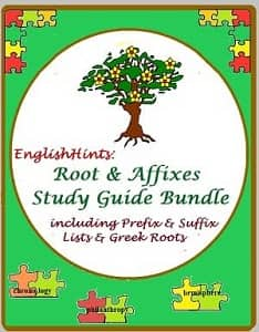 Green pdf cover with colored puzzle pieces, some with words from Greek roots. Circle with text: 'EnglishHints Root & Affixes Study Guide Bundle including Prefix & Suffix Lists & Greek Roots
