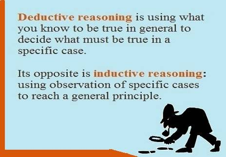 Definitions of deductive and inductive reasoning with silhouette of Sherlock Holmes following footprints.