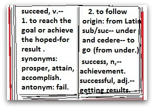 dictionary open to definitions for 'succeed' & 'success.