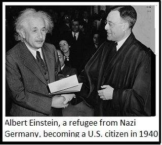 photo of Albert Einstein becoming a U.S. citizen in 1940.