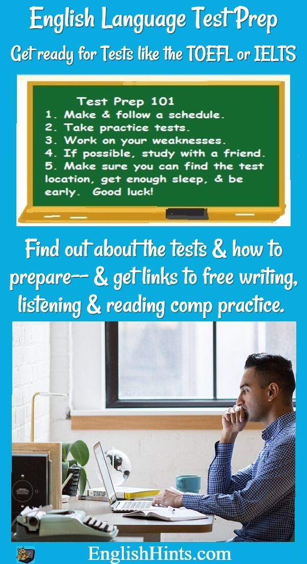 page title, picture of blackboard with test prep hints,