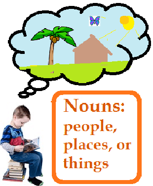 a boy reading and thinking about a sunny island with a house, palm tree, nad butterfly. Text: Nouns: people, places, and things