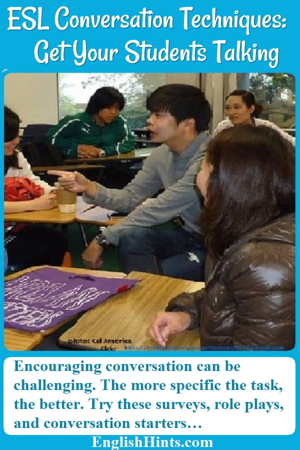 Get your students talking with these proven ESL conversation techniques. (Photo of a class conversation- from Cal America on Flicker, https://creativecommons.org/licenses/by/2.0/legalcode )
