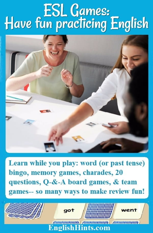 ESL Games: learn while you play. Memory games, 20 questions, team games, & more- so many ways to make trview fun. Picture of adult students playing a card game.