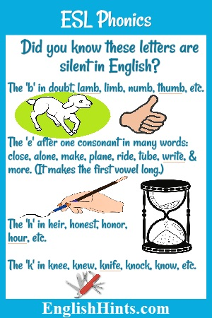 Did you know these letters are silent in English? The 'b' in lamb... thumb, etc. The 'e' in (words including) write, the 'h' in hour, etc., the 'k' in knife, etc., with pictures of these words.
