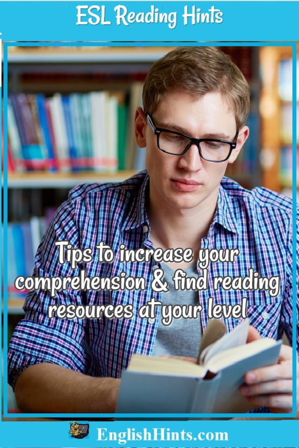 ESL Reading Hints: a young man reading in a library. Text: