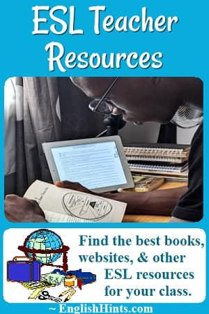 Photo of a teacher studying a book, and drawing of a globe, tape, scissors, and other supplies: 'Find the best books, websites, & other ESL resources for your class.'