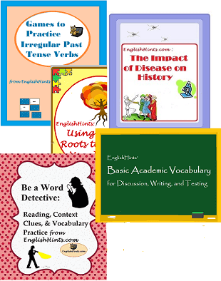 cover pictures for some of the ESL Worksheet packets on EnglishHints, includinga games packet, the Impact of Disease, Basic Academic Vocabulary, and Word Detective