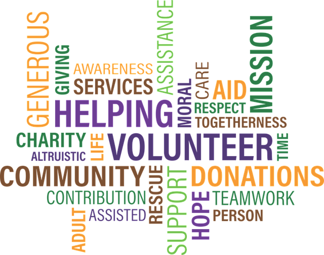 a word cloud of words relating to NGOs: volunteer, community, donations, helping, assistance, mission, contribution, generous, etc.