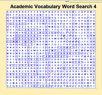 a screenshot of Academic Vocabulary Word Search 4 answersheet (answers circled.)