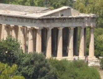 a Greek temple (the Parthenon in Athens)