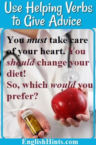 A doctor with a stethoscope offering medicine or an apple as she gives advice:  'You must take care of your heart. You should change your diet!  So, which would you prefer?'