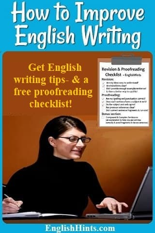 Photo of a woman writing next to her computer. Picture of a Revision & Proofreading Checklist pdf cover, & text: 'get monthly writing tips -- & a free revision checklist now!'