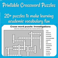 '20+ puzzles to make learning academic vocabulary fun' & a picture of a crossword puzzle