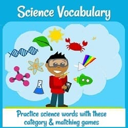 A young scientist with goggles surrounded by symbols of the sciences (DNA, the sun, a crab, a test tube, model of an atom, etc.) 'Practice science words with these vocabulary & matching games.'