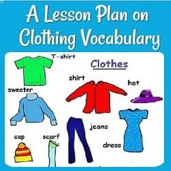 A Lesson Plan on Clothing Vocabulary: Pictures of different labeled clothes:  T-shirt, shirt, hat, sweater, cap, scarf, jeans, dress.