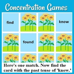 Picture of a grid of cards laid out for the game Concentration, with three turned over (find, found, & know) & the text: 'Here's one match. Now' find the card with the past tense of 'know.''