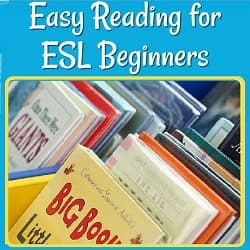 Easy Reading for ESL Beginners, with a photo of a library display of short, easy books for kids (+)